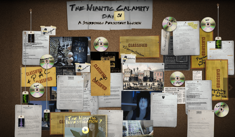 Google's Niantic Labs web page is a bulletin board cluttered with clues and snippets of information for its virtual-reality games.