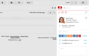 Screenshot showing contact details in FullContact for Gmail.