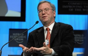 Eric Schmidt, Chairman of the Executive Committee and Chief Executive Officer, Google, USA; Co-Chair of the World Economic Forum Annual Meeting 2010 talks during the session 'Technology for Society' at the Annual Meeting 2010 of the World Economic Forum in Davos, Switzerland, January 29, 2010 in the Congress Centre.