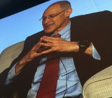 Ezekiel J Emanuel, M.S. Ph.D, who was White House special advisor on health policy, speaks on the big screen at the J.P. Morgan Healthcare Conference.