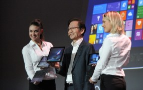 Asus chairman Jonney Shih announces the new line of convertable laptops at CES on Monday.