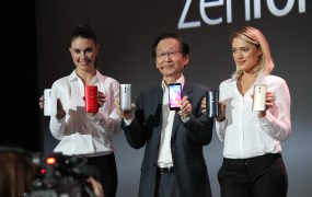 Asus chairman Jonney Shih (and some booth babes) introduce the new ZenFones at CES Monday.