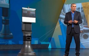 Brian Krzanich of Intel during keynote with a telepresence robot.