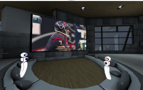 A 2D representation of the space where AltspaceVR will host a global Super Bowl party for Oculus Rift users on Sunday.