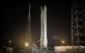 Falcon 9 by SpaceX prepares to launch.