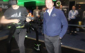 Jan Goetgeluk of Virtuix next to the Omni Treadmill  at CES 2015.