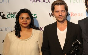 Ruchi Sanghvi (left) and Morten Primdahl (right) at the Crunchies 2013.