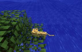 A baby ocelot at sea level in Minecraft.