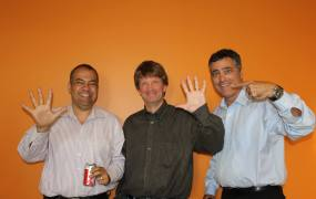 Cloudera's Amr Awadallah, Mike Olson, and Tom Reilly on the company's five-year anniversary in 2014.