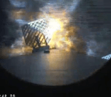 The Falcon 9 booster, 'landing on a stormy sea,' as SpaceX CEO Elon Musk put it.