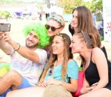 WeChat users take a selfie at the Sunburn music festival in Goa.
