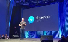 Facebook CEO Mark Zuckerberg, announcing Messenger Platform at F8 in San Francisco