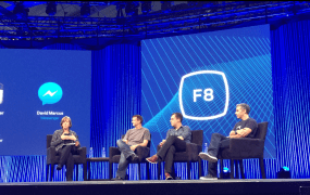 WhatsApp co-founder Brian Acton (second from left) appearing on stage at F8 with Kleiner Perkins partner Mary Meeker (left), Instagram co-founder Mike Krieger, and David Marcus, head of Facebook's Messenger.