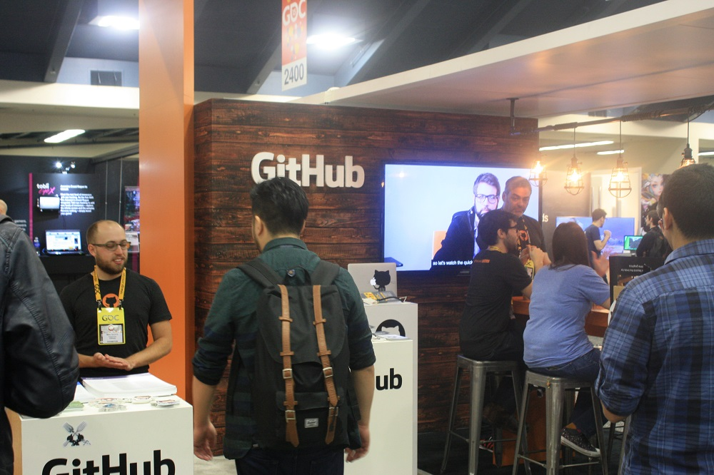 GitHub went with a classy wood accent for its GDC 2015 booth.