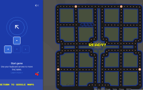 Pac-Man in Google Maps.