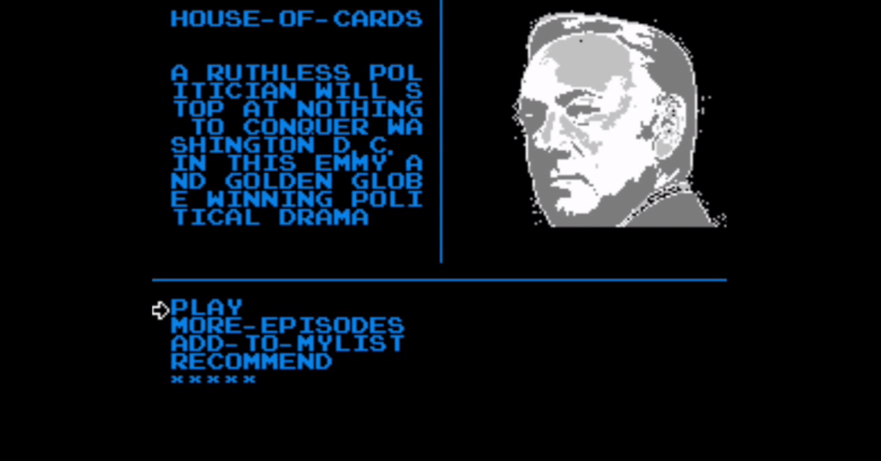 Browsing Netflix shows on the NES.
