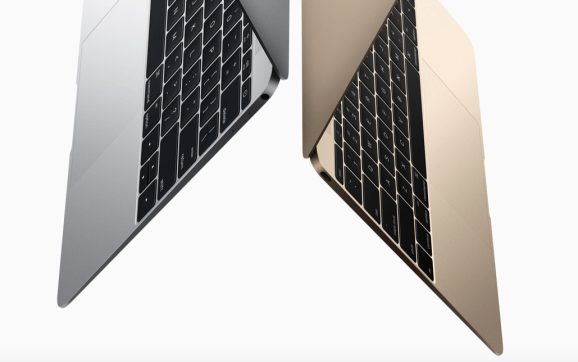"The new Retina MacBook comes in silver and gold, plus ""space gray"" (not pictured)."