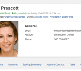 Part of a screen in Salesfusion, showing a prospect
