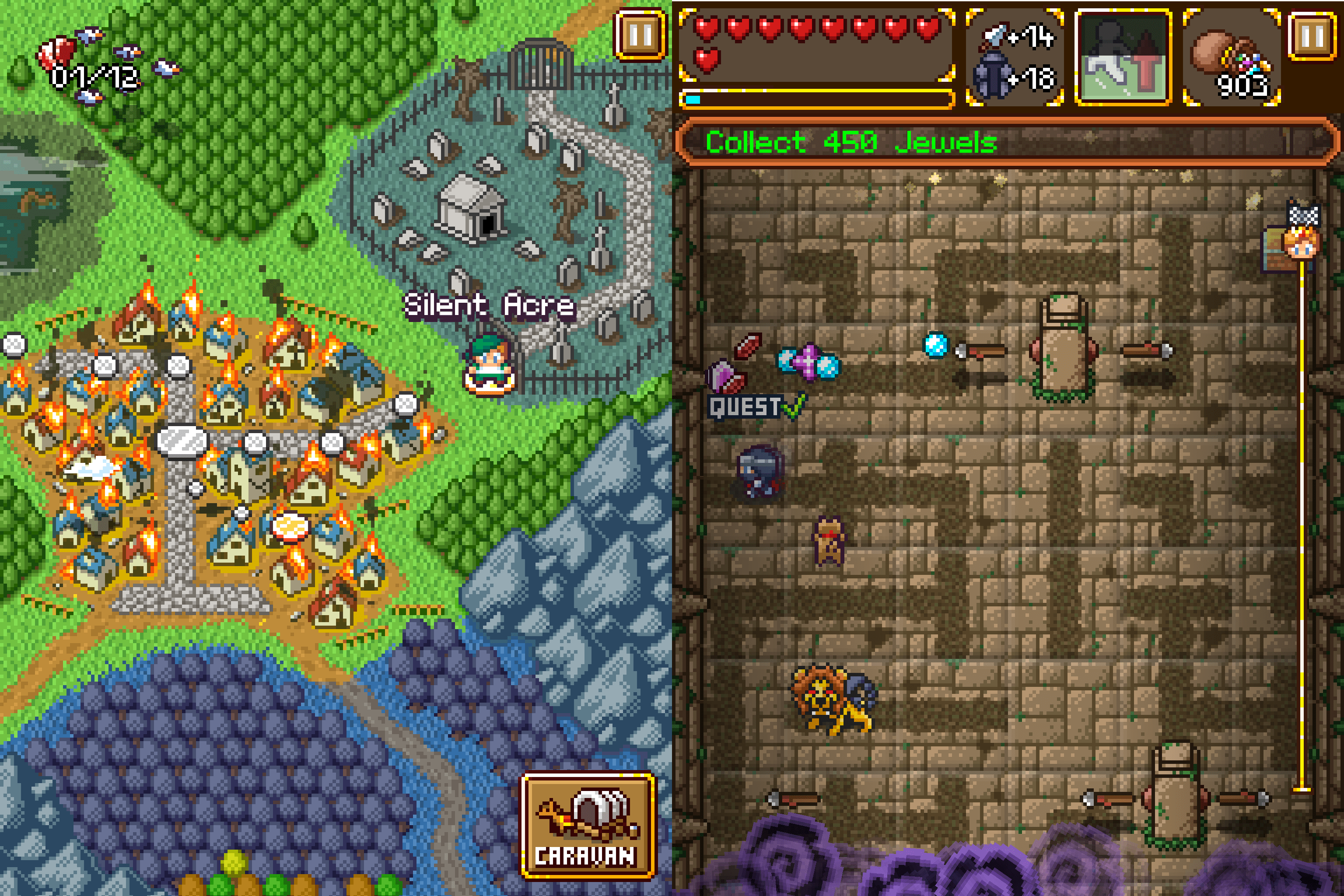 SwapQuest has echoes of older role-playing games, but it brings a fresh twist with its puzzle mechanics.