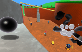 Image from the version of Super Mario 64 HD built for browsers by developer Roystan Ross.