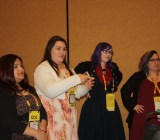 [From left to right] Neha Nair, Elizabeth Sampat, Zoe Quinn, and Donna Prior speak at a Game Developers Conference 2015 panel.