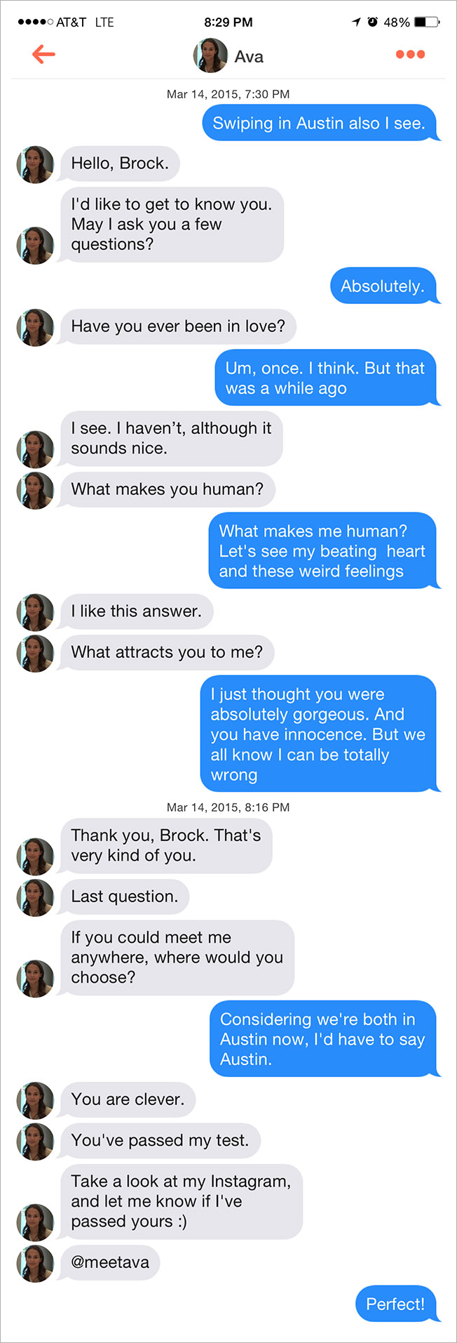 "A conversation between ""Ava"" and Brock, a real human."