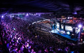 The enormous crowd for the Counter-Strike ESL event at the Spodek Arena in Katowice, Poland.