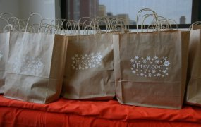 Etsy shopping bags.