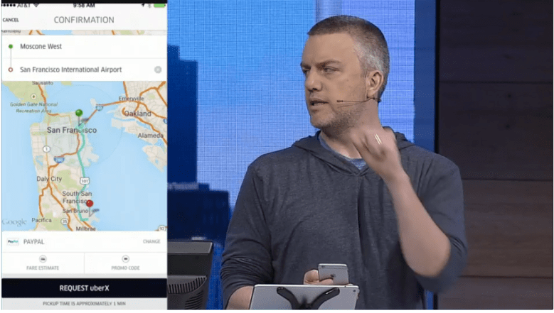 Microsoft's Rob Lefferts showing off an integration of Uber into Microsoft Exchange, thanks to the new unified API endpoint for Office apps, at Microsoft's 2015 Build conference in San Francisco on April 29.
