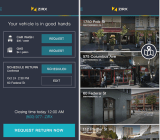 Zirx app screens, showing choices of added services or of garages