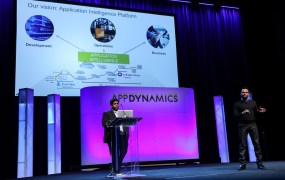 AppDynamics founder and chief executive Jyoti Bansal, right.
