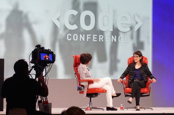 Ellen Pao onstage with Kara Swisher (left) at the Code Conference in May 2015