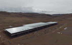Tesla's Gigafactory in Nevada, shown in an aerial video shot by a drone.