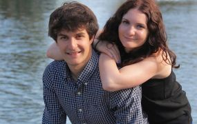Transcense founder Thibault Duchemin and his sister. Duchemin grew up as the only hearing person in a deaf family.