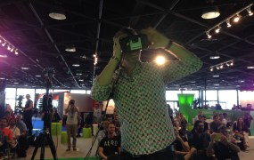 Brady Forrest, who runs the Highway1 hardware accelerator in San Francisco, tries VideoStitch live streaming program on the Occulus Rift.