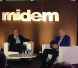Sony Music CEO Doug Morris (right), being interviewed at the Midem music and technology conference in Cannes.