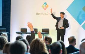 Box chief executive Aaron Levie speaks at the Box World Tour event in London in May.
