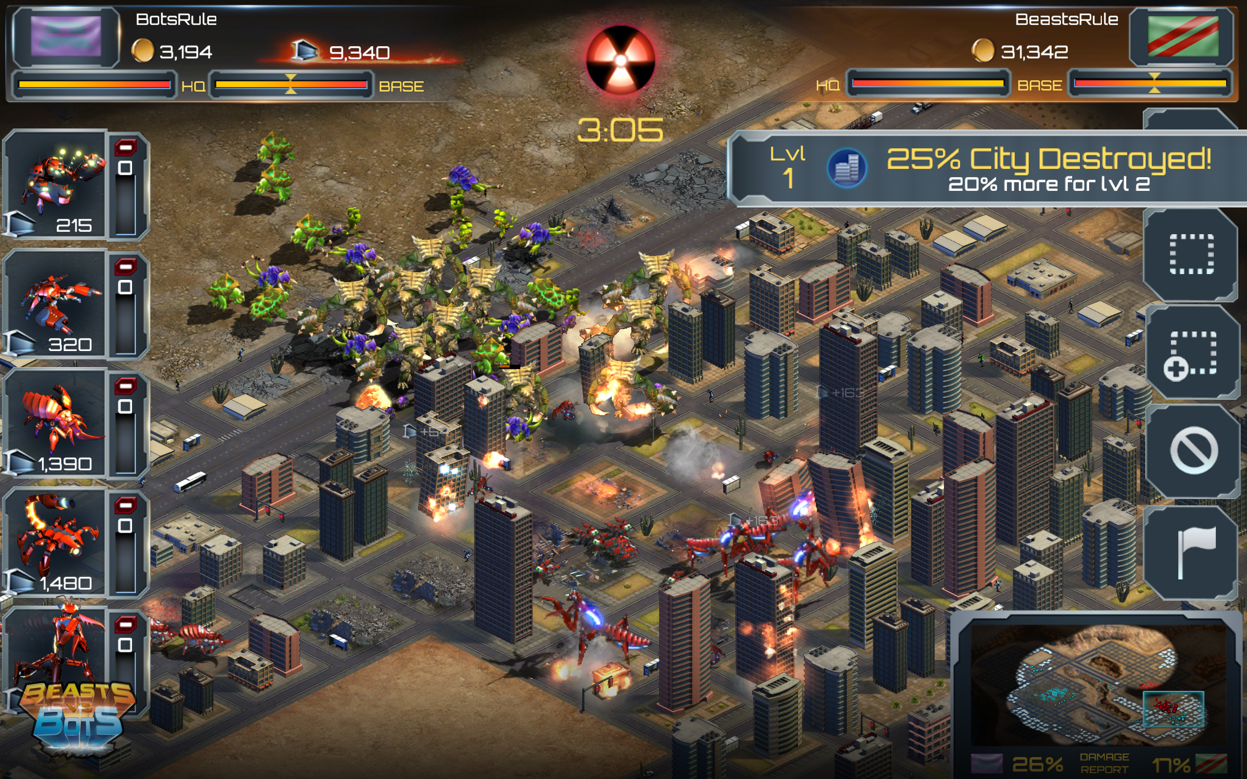 In Beasts vs. Bots, the beasts can destroy cities.