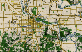 I zoomed in on Eugene, Ore., and customized the Wheatpaste map style in Mapbox Studio.