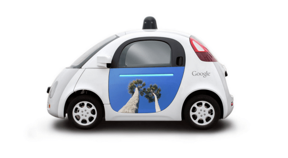 Artwork on a Google self-driving car.