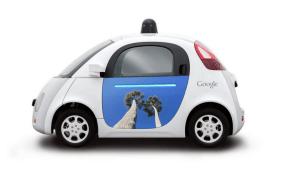 Artwork on a Google self-driving car.