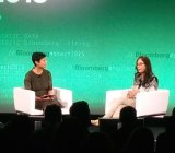 Former Cisco CTO Padmasree Warrior (right) speaks with Bloomberg's Stephanie Mehta.