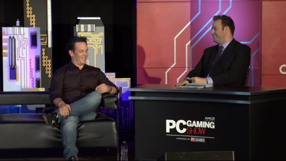 Head of Microsoft's Xbox division Phil Spencer on stage at the PC Gaming Show during the 2015 Electronic Entertainment Expo in Los Angeles, Calif.