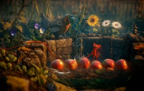 Apples are a makeshift bridge for Yarny in this physics-based platformer.