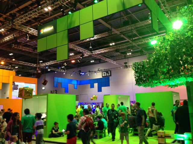 The Microsoft booth at Minecon 2015.