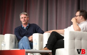 Flipboard CEO Mike McCue with VentureBeat's Harrison Weber at MobileBeat 2015