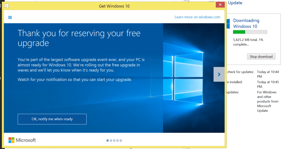 "My Windows 8.1 machine still says ""Notify me when ready"" and yet I'm downloading Windows 10. Here's how."