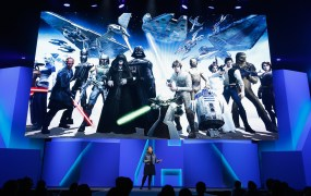 Samantha Ryan presenting a new Star Wars mobile game at the Electronic Entertainment Expo trade show last month.