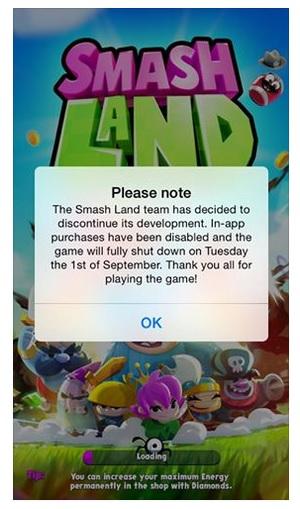 Supercell shuts Smash Land.