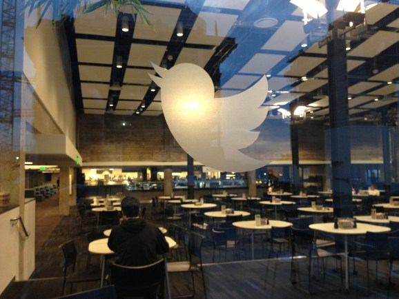 Twitter headquarters - looking into the Twitter cafeteria from the living roof